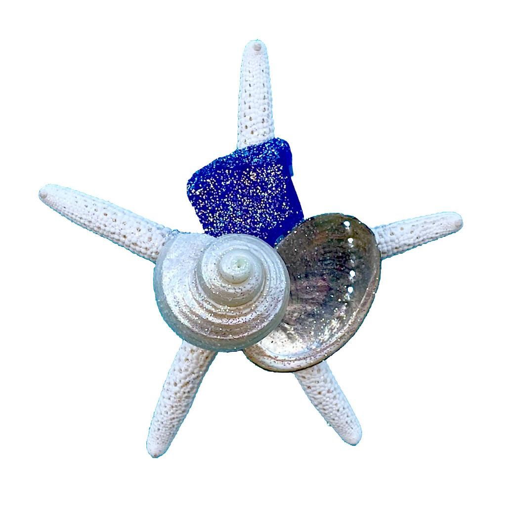 Dark Blue Sea Glass Starfish Magnet