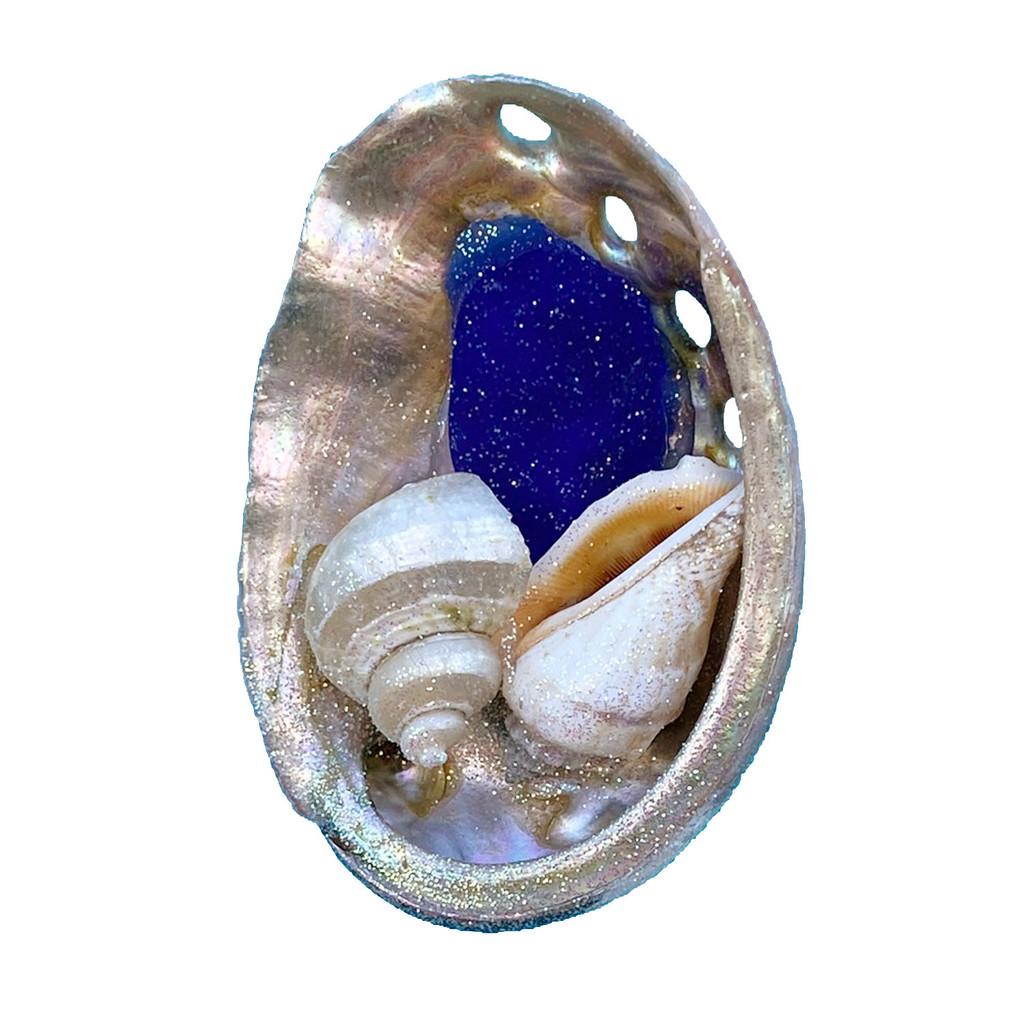 Dark Blue Sea Glass Abalone Magnet