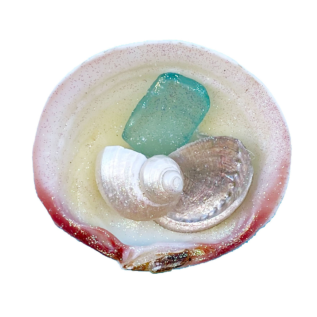 Aqua Sea Glass Tegrina Clam Magnet