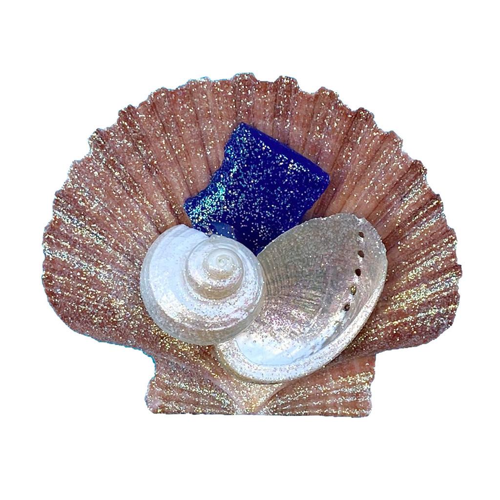 Dark Blue Sea Glass on Brown Pectin Magnet