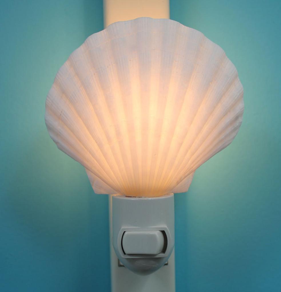 Irish Scallop Seashell Night Light turned on
