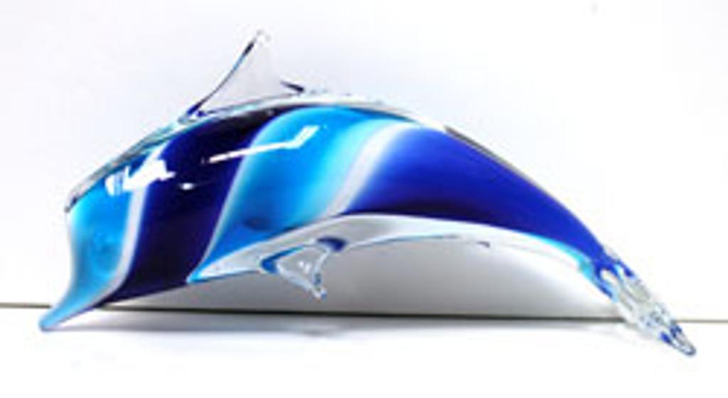 Glass Dolphin Blue Swirl