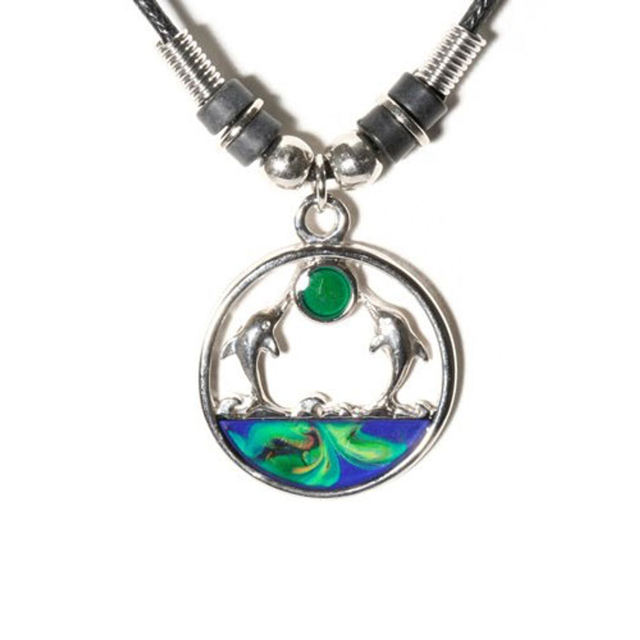GiftJewelryShop Cute Dolphin Tail Glass Cabochon Rotatable Lucky Pendant Necklace