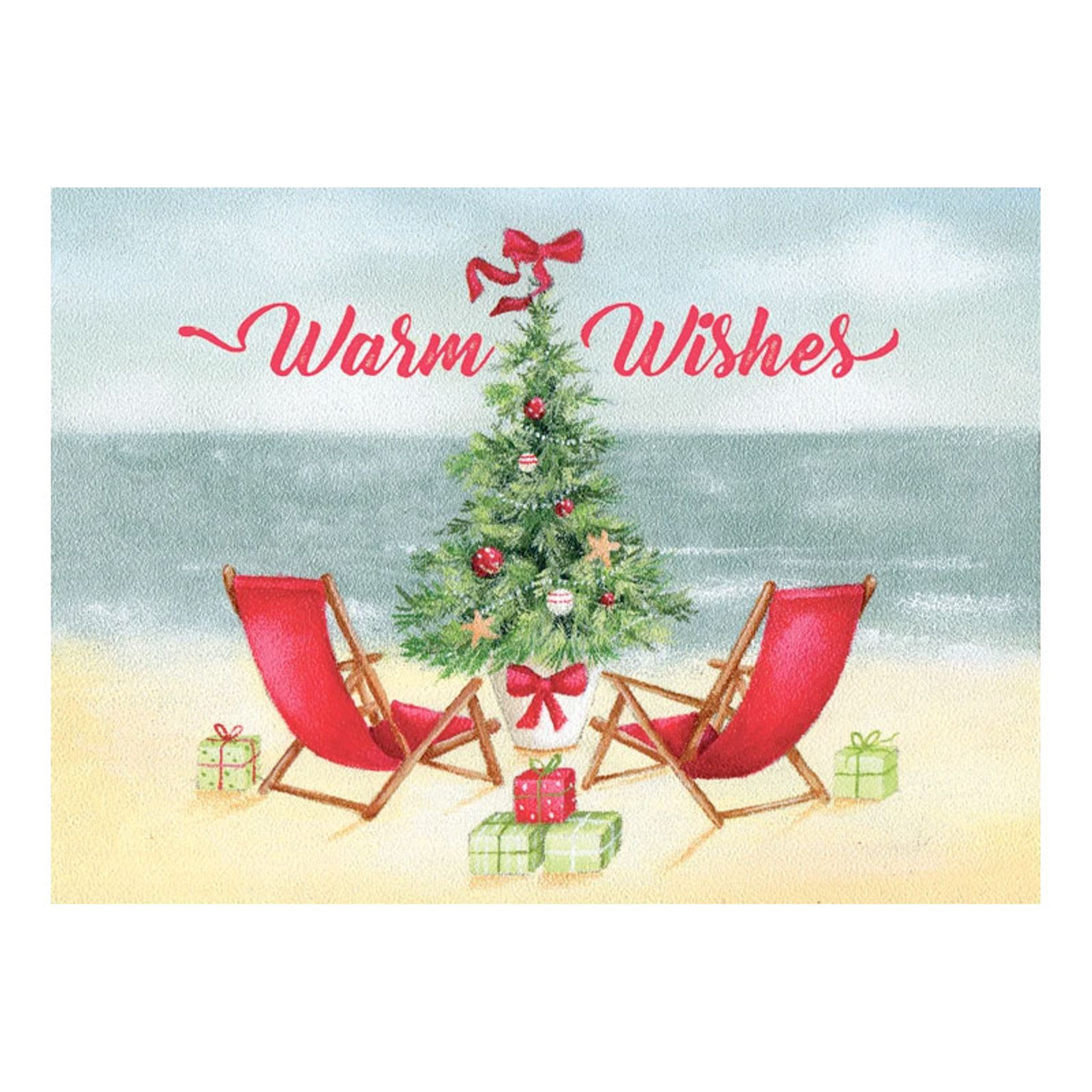 Red Chairs Holiday Cards Coastal Christmas Stationery California Seashell Co
