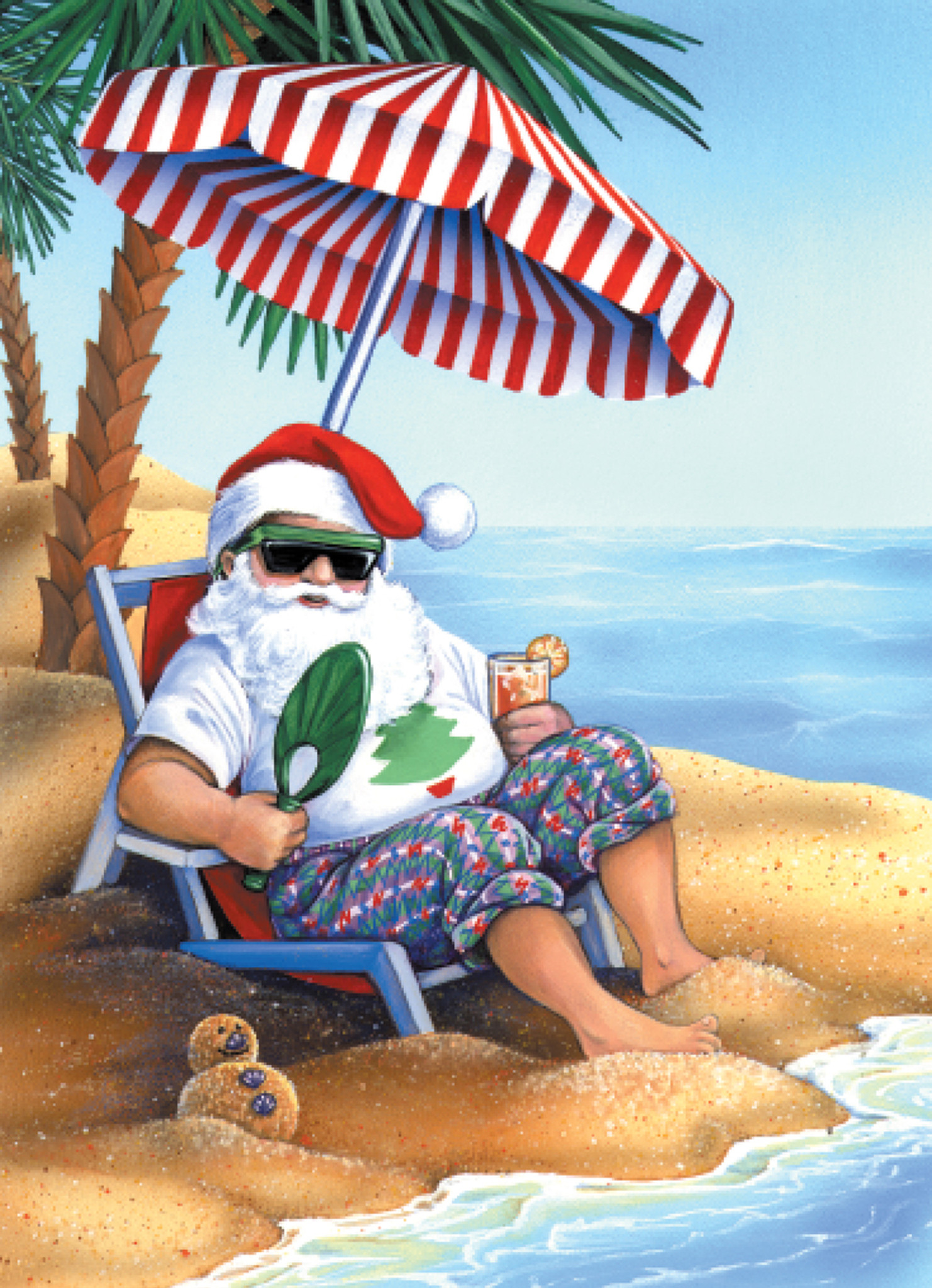 Beach Christmas Cards >> Santa On Beach Christmas Cards