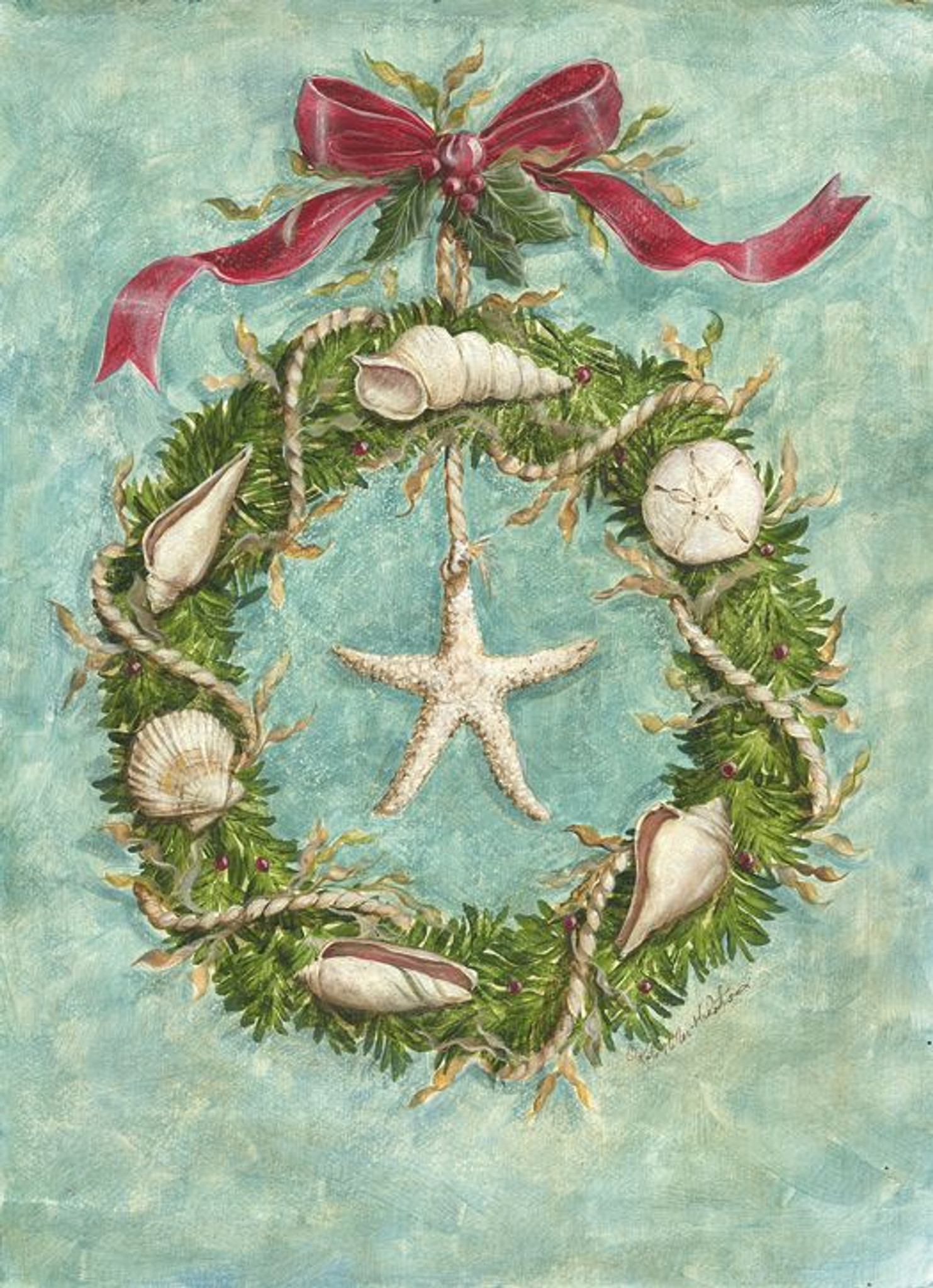 Beach Christmas Cards >> Beach Wreath Holiday Cards Coastal Christmas Stationery