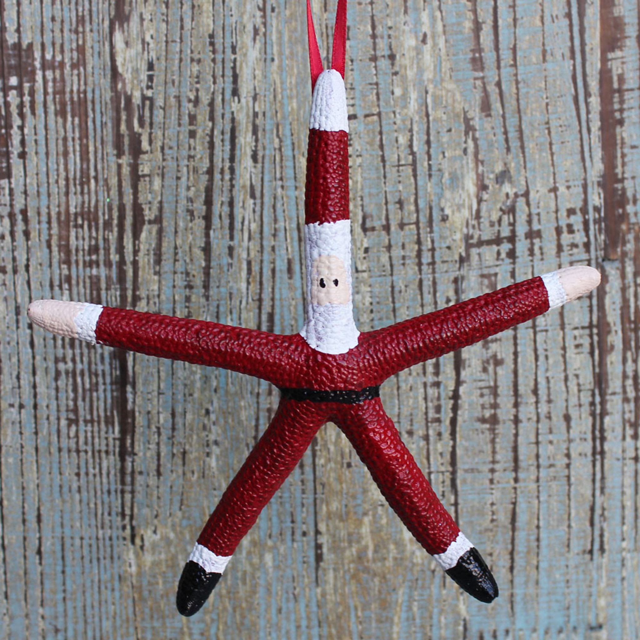 Santa Starfish Ornament