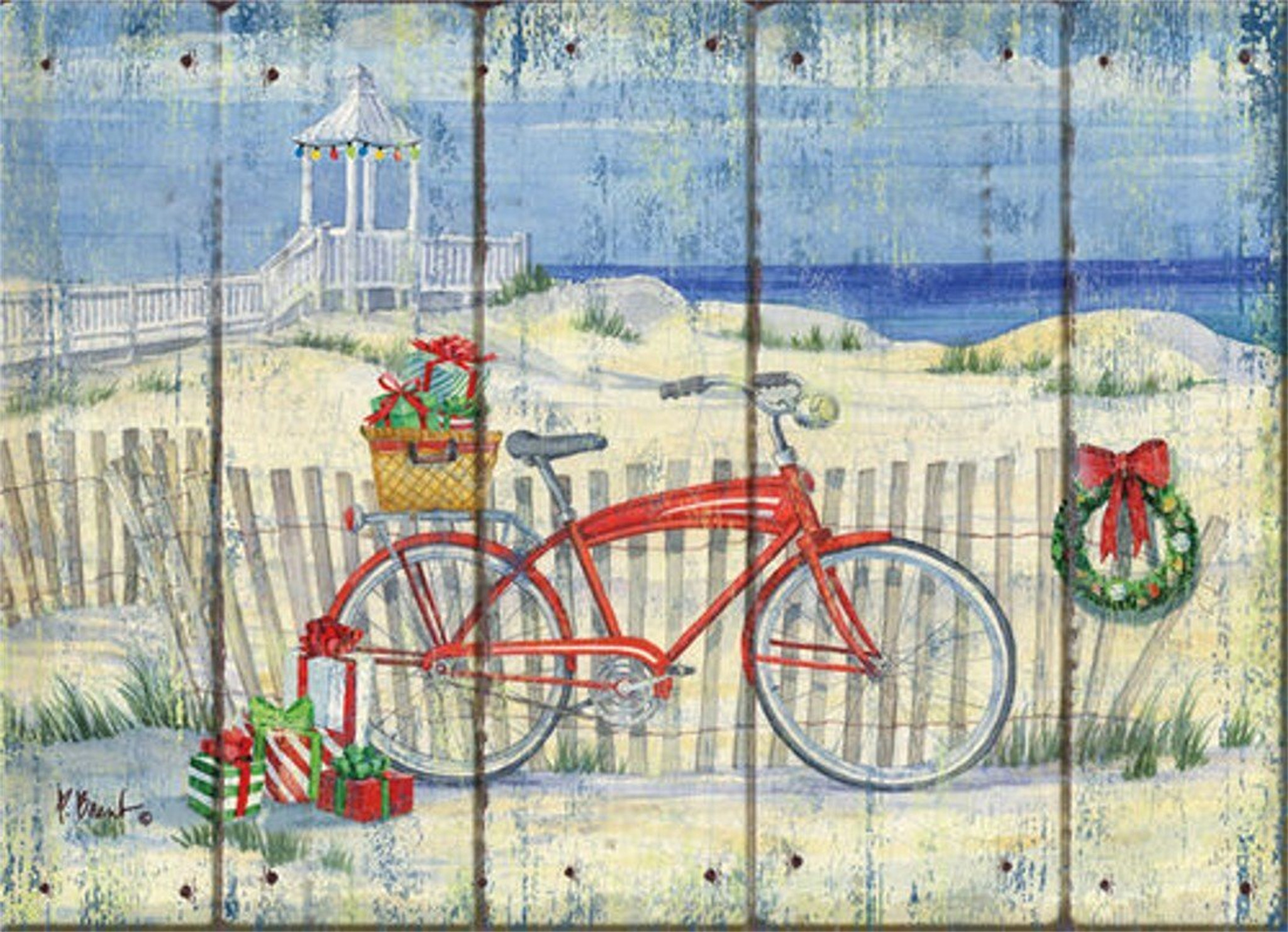 Beach Christmas Cards >> Beach Cruiser Holiday Cards Coastal Christmas Stationery