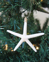 Small White Finger Starfish Glitter Christmas Ornament - Handmade in Huntington Beach, California, USA