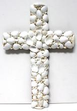 Large White Seashell Cross