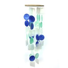 Blue, Aqua & White Capiz Shell Chimes