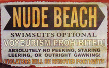 Nude Beach Metal Sign