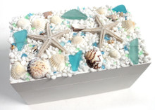 White Box with Blue and Green Sea Glass