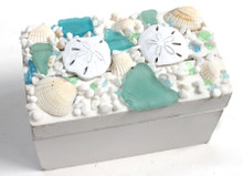 Small White Box with Blue and Green Sea Glass