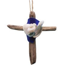 Driftwood Cross Ornament with Dark Blue Sea Glass