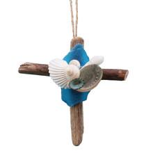 Driftwood Cross Ornament with Light Blue Sea Glass