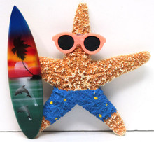 Surfer Boy Starfish Magnet with Blue Shorts