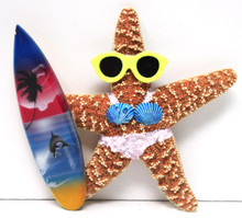 Surfer Girl Starfish Magnet with Light Pink Bikini & Surfboard