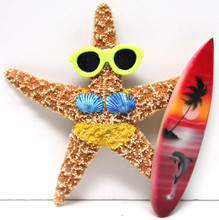 Surfer Girl Starfish Magnet with Yellow Bikini & Surfboard