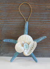 Blue Finger Starfish Collage Ornament