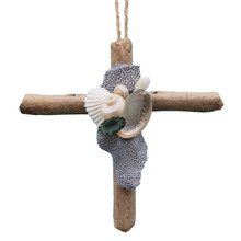 Driftwood Cross Ornament with Natural Blue Coral