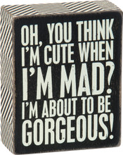 Oh, you think I'm cute when I'm mad? I'm about to be gorgeous!
