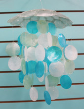 Turquoise & White Capiz Shell Chimes