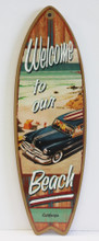 Welcome to our Beach Woody Surfboard Sign