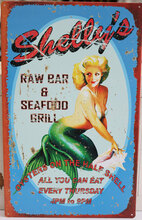 Shelly's Seafood Grill Metal Sign