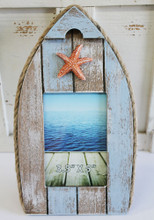 Large Striped Boat Frame with Starfish
