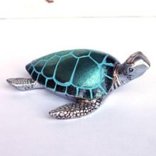 Pearl Teal Sea Turtle Figurine