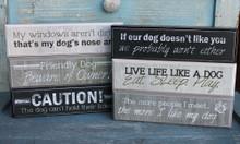 Cute Dog Sayings Block Signs