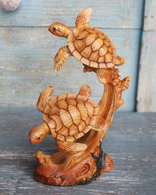 Two Sea Turtles Swimming Wood Look Figure