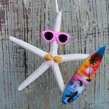 Surfer Girl Starfish Ornament - Light Pink
