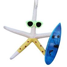 White Finger Starfish Surfer Ornament - Yellow