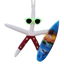 White Finger Starfish Surfer Ornament - Red