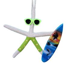 White Finger Starfish Surfer Ornament - Green