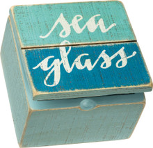 Sea Glass Hinged Slat Box