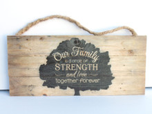Our Family Rope Hanging Sign