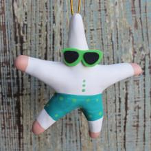 Surfer Starfish Clay Ornament - Set of 3