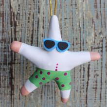 Surfer Starfish Clay Ornament