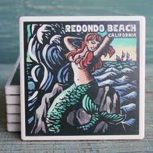 Redondo Beach Scratchboard Mermaid Coaster