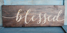 Blessed Carved Wood Sign