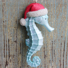 Blue Resin Santa Seahorse Ornament