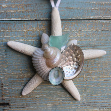 White Finger Starfish Ornament with Teal/Aqua Sea Glass