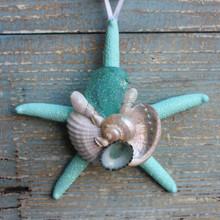 Teal Sea Glass on an Aqua Starfish Collage Ornament