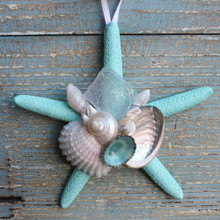 Aqua Starfish Collage Ornament with White Sea Glass