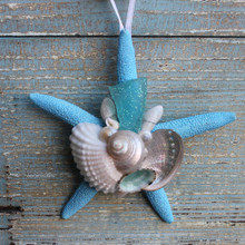 Teal Sea Glass on a Blue Finger Starfish Ornament