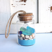 Sea Glass Beach Bottle Ornament with Light Blue Sand