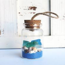 Sea Glass Beach Bottle Ornament with Cobalt Sand